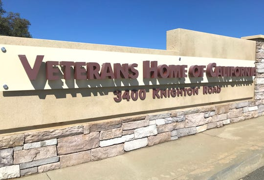 Sign at the entrance to the Redding Veterans Home on Knighton Road.
