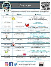 A sample schedule is offered by the Monterey County Office of Education to help parent with their children's distance learning during the shelter-in-place order.