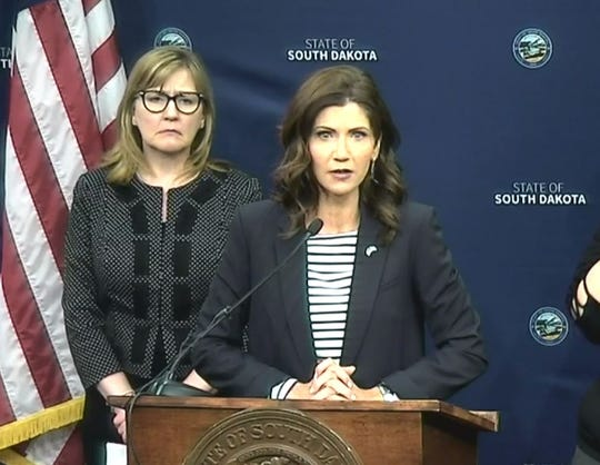Gov. Kristi Noem provides an update on coronavirus response in South Dakota on April 7.