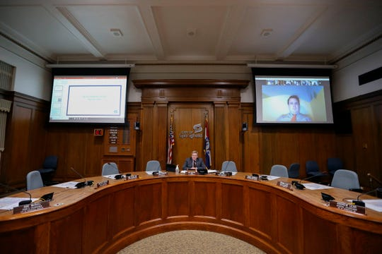 Due to the COVID-19 pandemic the Springfield City Council conducted their meeting on Monday, April 6, 2020 via Zoom with only Springfield Mayor Ken McClure and a handful of staff present in the council chambers.