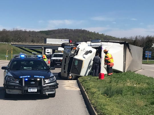 A truck overturned Tuesday morning on Lee Jackson Highway.