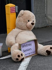 A stuffed bear greets visitors Monday, April 6, 2020, to the Whitney Senior Center in St. Cloud.