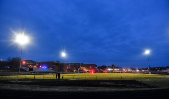 "Lights are turned on at Michael Field for 20 minutes as part of the ""BeTheLightMN"" movement to pay tribute to the members of the Class of 2020 Monday night at Albany High School."