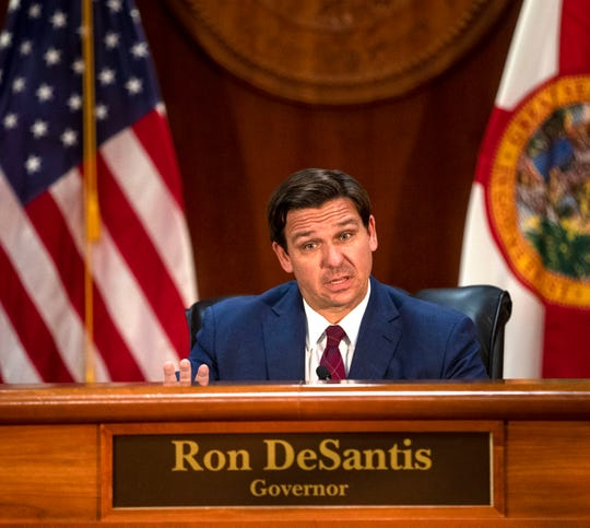 Gov. Ron DeSantis holds a press conference to give the latest updates on the impact coronavirus is having on Florida, Tuesday, April 7, 2020.