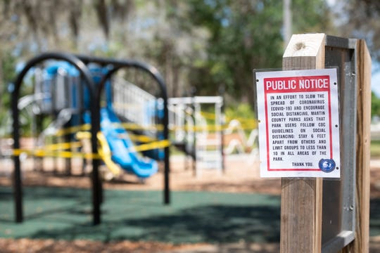 A public notice issued by Martin County officials and posted at Jock Leighton Park in Palm City encourages the public to maintain social distance of at least six feet and to limit gatherings to less than 10 people during the coronavirus pandemic.