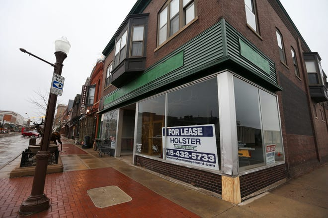 A vacant store front stands at 626 N. Third Street on Wednesday, March 25, 2020, in downtown Wausau, Wis. While this storefront has sat empty for some time, other downtown shops and restaurants are at risk of closing permanently due to coronavirus-related restrictions. Tork Mason/USA TODAY NETWORK-Wisconsin