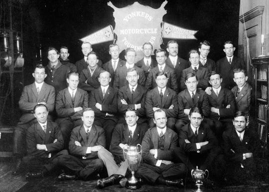 A photo of the Yonkers Motorcycle Club taken in 1917 in the Hollywood Inn. The Hollywood Inn served as Yonkers Motorcycle Club headquarters for a number of years.