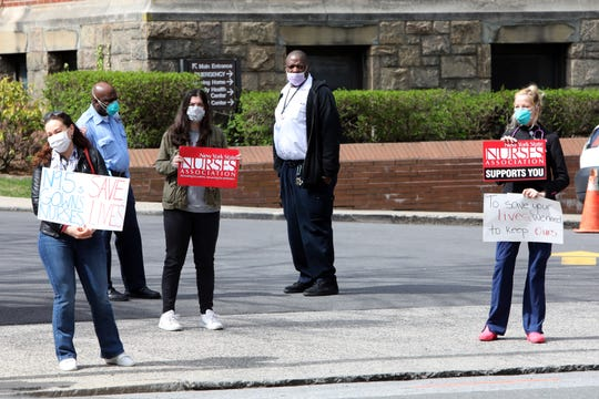 Nurses from St. John's Hospital and St. Joseph's Hospital demand protective equipment (PPE) to safely care for patients and slow the spread of COVID-19 April 7, 2020 at St. Joseph's Hospital  in Yonkers.