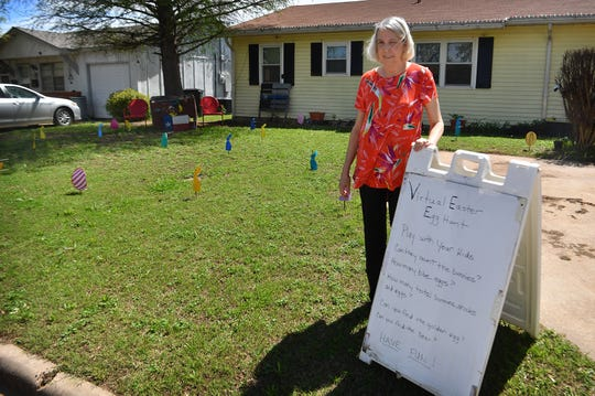 Julie Coley put in a virtual Easter egg hunt in her front yard at 111 Aberdeen Drive for small children and their parents driving by to find the things on the list.