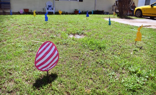 People with young children passing by 111 Aberdeen can play a virtual Easter egg hunt by spotting and counting the bunnies and eggs in Julie Coley's front yard.