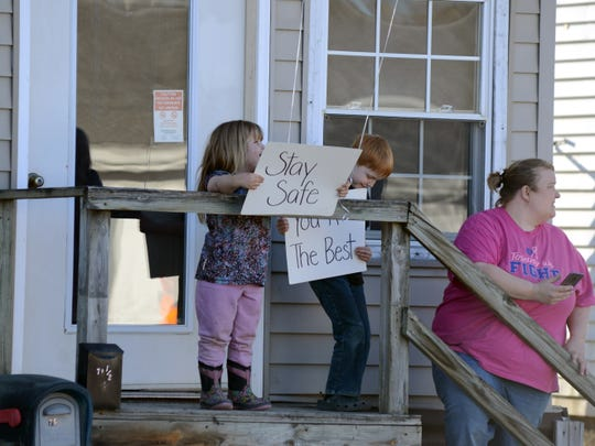 Even the some of the youngest residents held signs to show support for the Roseville Fire Department on Monday.