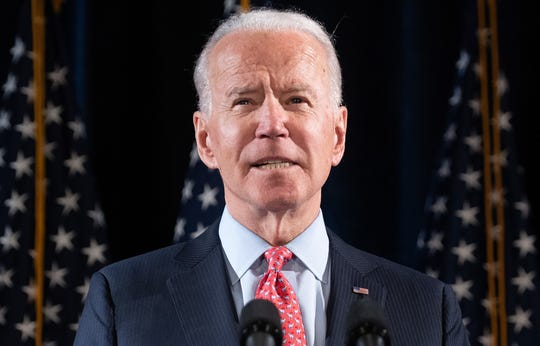 Former US Vice President and Democratic presidential candidate Joe Biden speaks at a press event in Wilmington, Delaware, on March 12, 2020.