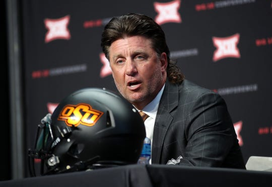 Oklahoma State head coach Mike Gundy during Big 12 media days in July 2019.