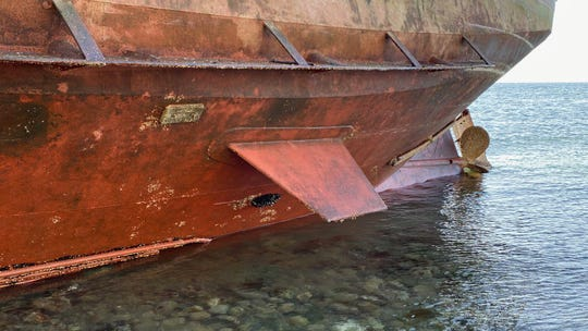 A view of the Kathleen's hull after it ran aground near Kingston Wednesday morning.