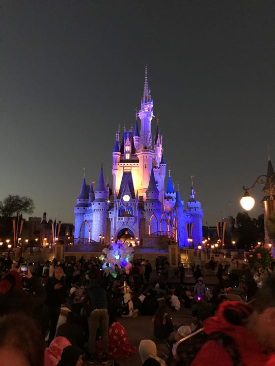 """A crowd gathers in front of the Cinderella Castle at Walt Disney World's Magic Kingdom in Orlando in February 2020.  Disney Chairman and former CEO Bob Iger told Barron's that in order for things to return to """"some semblance of normal"""" post-coronavirus, people will have to feel safe."""