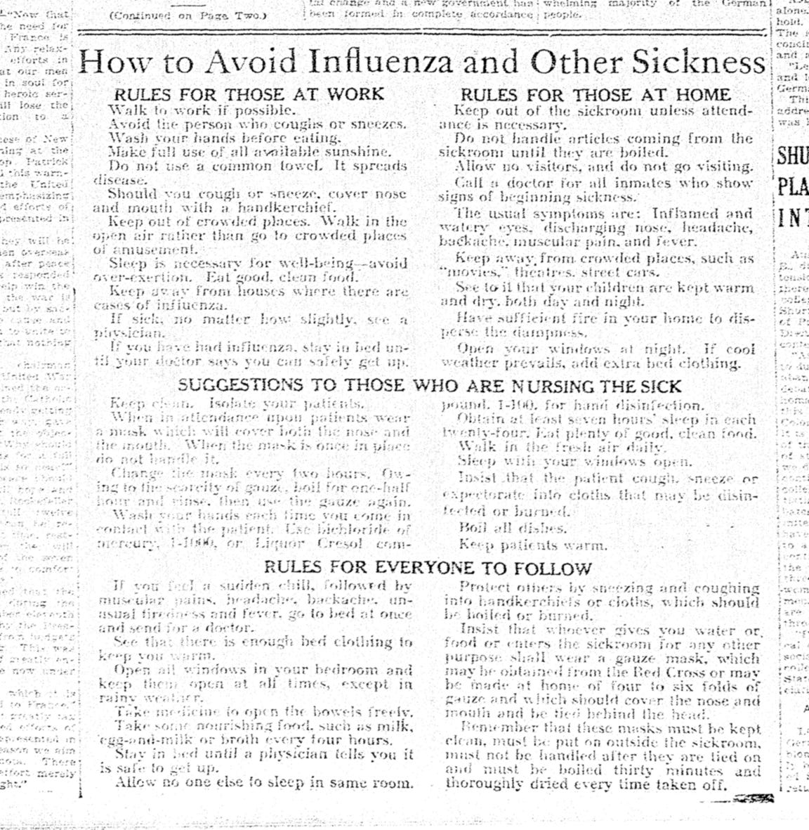 On Tuesday, Oct. 22, 1918, the Corpus Christi Caller ran a list of measures to avoid influenza and care for the sick during the 1918 influenza pandemic.