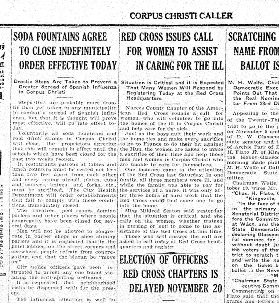 Businesses agreed to close in Corpus Christi as the 1918 influenza epidemic worsened, as seen in the Tuesday, Oct. 22, 1918 issue of the Corpus Christi Caller.