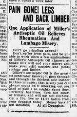 An ad for Miller's Antiseptic Oil that appeared in the Gazette on Feb. 5, 1919.