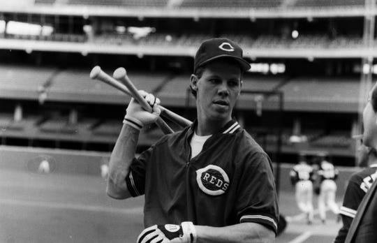 Todd Benzinger during batting practice at Riverfront Stadium before game one of the World Series in 1990.