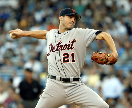 Detroit Tigers pitcher Jason Johnson delivers a pitch in the Tigers game against the New York Yankees in 2004. The Conner graduate won 56 games in the major leagues.