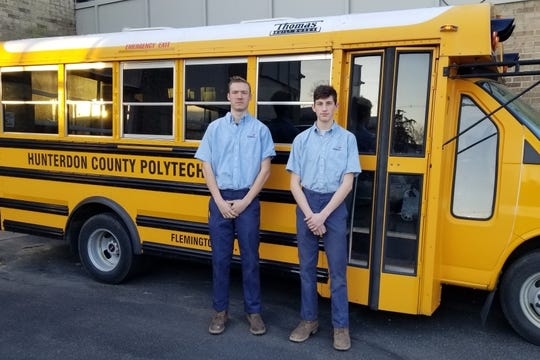 From Hunterdon County Polytech Career & Technical High School are (left to right) Stephen Koehler and Grant Kingston, both Automotive Technology students, heading to a SkillsUSA competition on Thursday, March 5. Kingston recently learned that he earned second place that day in the Automotive Maintenance event.