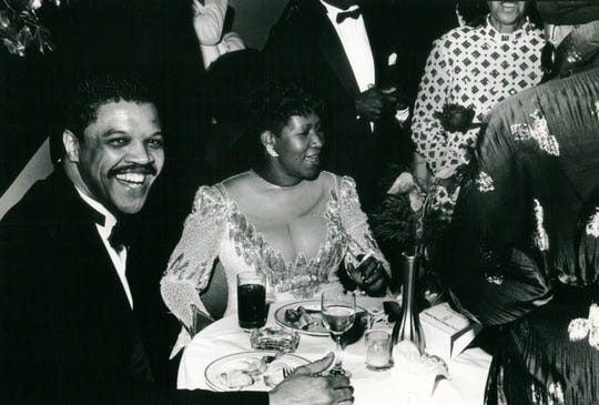 Willie Wilkerson with Aretha Franklin in 1987.