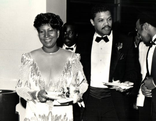 Aretha Franklin and Willie Wilkerson in 1987.