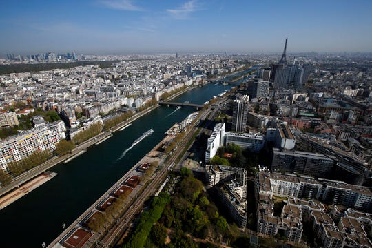 An aerial view of Paris taken from a balloon which measures air quality during a nationwide confinement to counter the Covid-19, Wednesday, April 8, 2020.