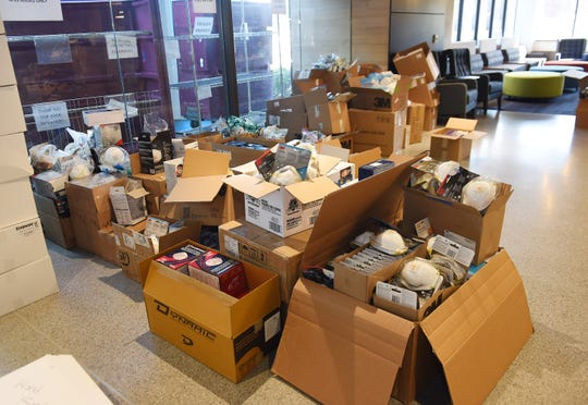 Donated medical supplies stored in the lobby at Beaumont's corporate headquarters.