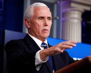 Vice President Mike Pence speaks about the coronavirus in the James Brady Press Briefing Room of the White House, Tuesday, April 7, 2020, in Washington.