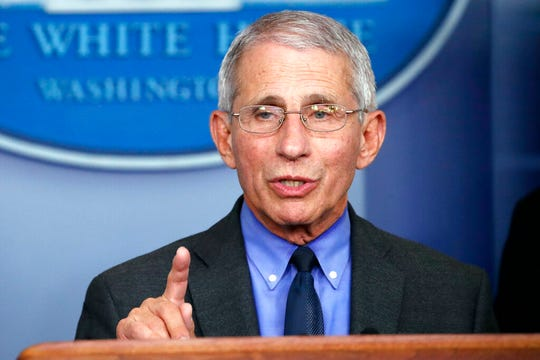 Dr. Anthony Fauci, director of the National Institute of Allergy and Infectious Diseases, speaks about the coronavirus in the White House, Tuesday, April 7, 2020, in Washington.