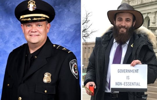 Madison Heights Police Chief Corey Haines and attorney Nicholas Somberg are pictured.