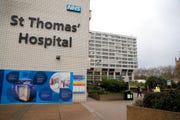 A view of St Thomas' Hospital in Westminster where Britain's Prime Minister Boris Johnson is undergoing tests after suffering from coronavirus symptoms, in London, Monday, April 6, 2020.