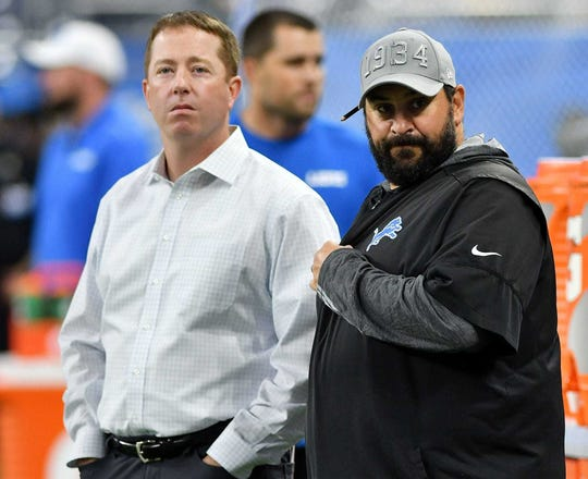 Lions general manager Bob Quinn, left, and head coach Matt Patricia.