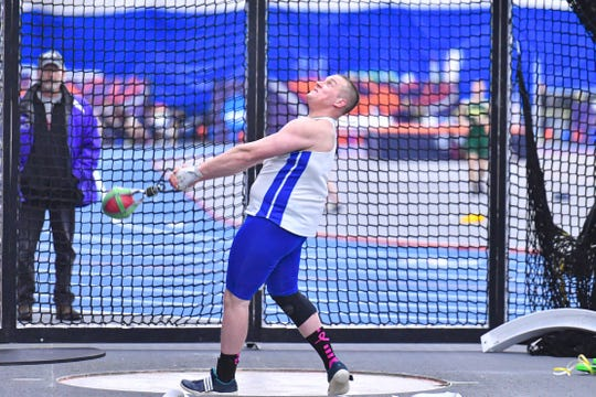 Elmira Notre Dame graduate Ty Kunzman competes in the weight throw for Hamilton College at the Utica College Indoor Invitational on Jan. 18, 2020.