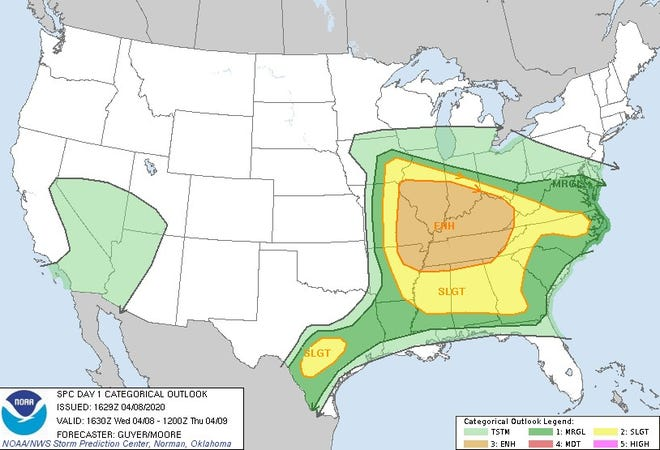 """The region is in an """"enhanced risk"""" area for severe weather late Wednesday night."""