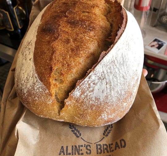A sourdough boule from Aline's Bread, which delivers free through Hubbell Farms.