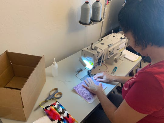 Most of Safe-Strap's employees are working from home now, making face masks with industrial sewing machines or home machines. The company expects to produce about 3,000 masks a day and donate them to U.S. hospitals and health-care facilities.