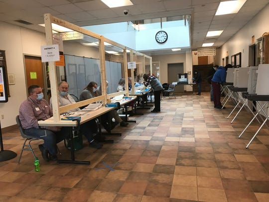 Plexiglass barriers separated poll workers from voters in Sturgeon Bay City Hall on April 7 Election Day.