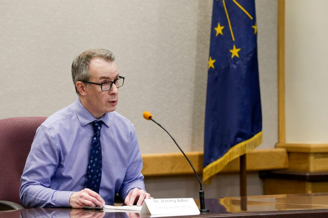 Dr. Jeremy Adler, Tippecanoe County's health officer, speaks during a press conference at the Tippecanoe County Office Building, Wednesday, April 8, 2020 in Lafayette.