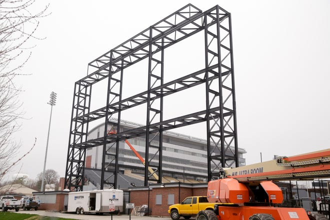 Construction continues on the new Ross-Ade stadium video board in the south end zone, Wednesday, April 8, 2020 in West Lafayette. The new video board will be the first HDR (high-dynamic range) board in college football, measuring in at 56-feet, 9-inches high and 150-feet, 4-inches feet wide.