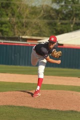 Teurlings pitcher Connor Macip delivers a pitch.