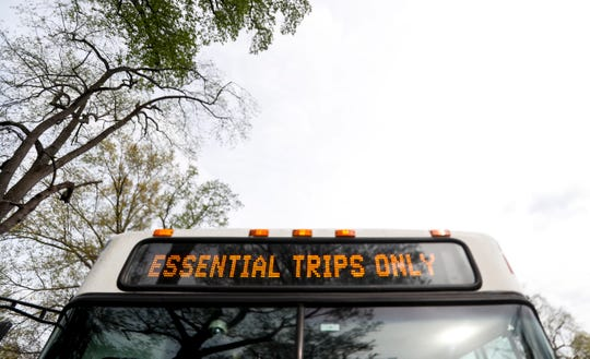 A TARC bus comes to a stop at the end of Broadway near Shawnee Park on April 7, 2020.