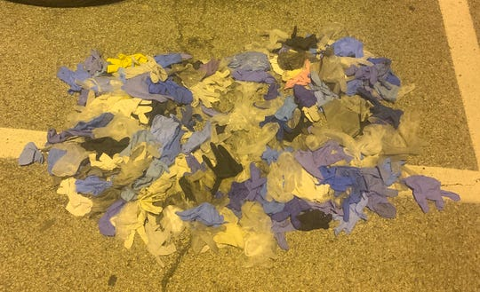A pile of gloves collected by Louisville Pavement Sweep in one route during the coronavirus pandemic. April 6, 2020