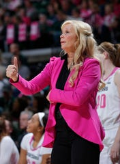 Michigan State coach Suzy Merchant signals during the second half of a game in February.  Merchant and the Spartans got a commitment from Penn State transfer Jayla James this week.