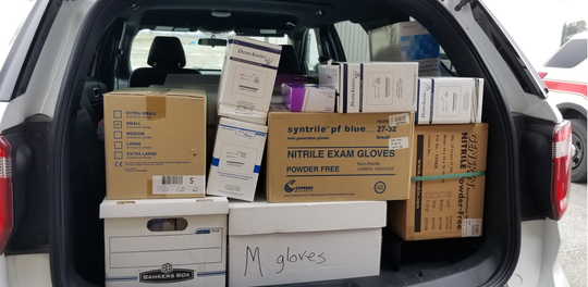Marion Technical College donated more than 26,900 gloves as wells as cases of face shields, lab coats, gowns and masks to the Marion County Emergency Management Agency. Disinfectant and hand sanitizer were also provided.