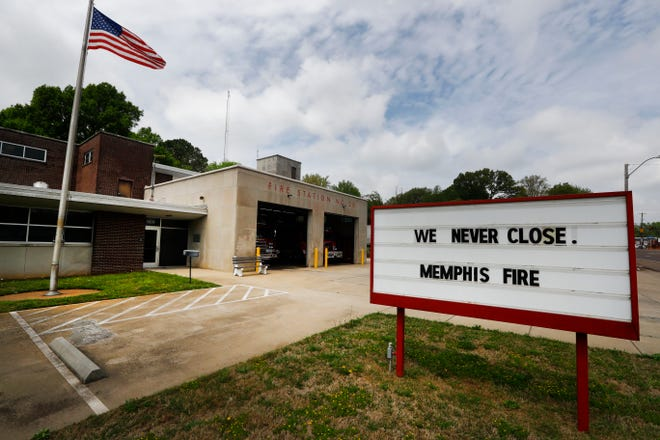 Memphis Fire Station #29 on Elvis Presley Blvd. where the sign gives a nod to their essential work during the coronavirus pandemic on Wednesday, April 8, 2020.