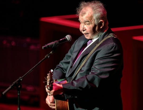 """John Prine performs a song by his mentor """"Cowboy"""" Jack Clement during the sixth annual Memphis Music Hall of Fame induction ceremony Oct. 27, 2017."""