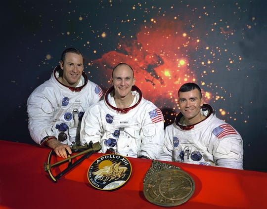"""This is the official NASA photo of the Apollo 13 crew. From left: Commander, James A. Lovell, Command Module pilot, Thomas K. Mattingly and Lunar Module pilot, Fred W. Haise. Mattingly was exposed to German measles before the mission and was replaced by his backup, Command Module pilot, John L.""""Jack"""" Swigert Jr."""