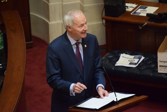 Gov. Asa Hutchinson delivers his State of the State address to the General Assembly on the first day of its fiscal session Wednesday in Little Rock.